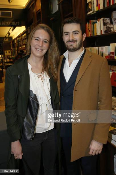 Diane Pellet and Alban Matteoli attend Bertrand Matteoli Signing Book 'Bien Dans Sa Peau' at Librairie Galignali on March 18 2017 in Paris France