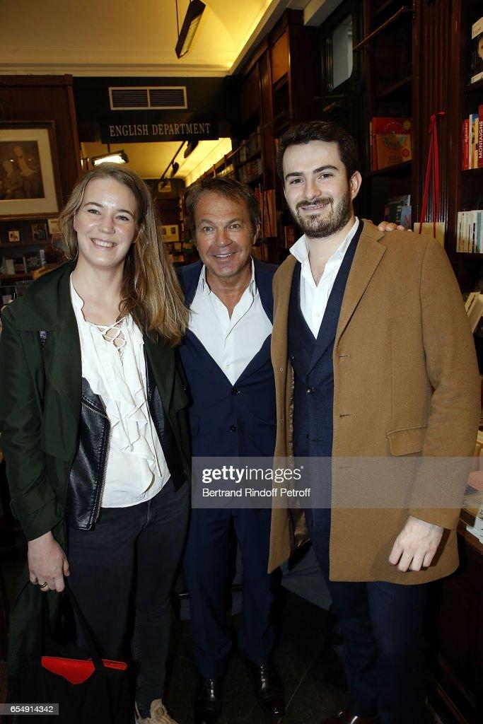 Diane Pellet, Bertrand Matteoli and Alban Matteoli attend Bertrand Matteoli Signing Book 'Bien Dans Sa Peau' at Librairie Galignali on March 18, 2017 in Paris, France.
