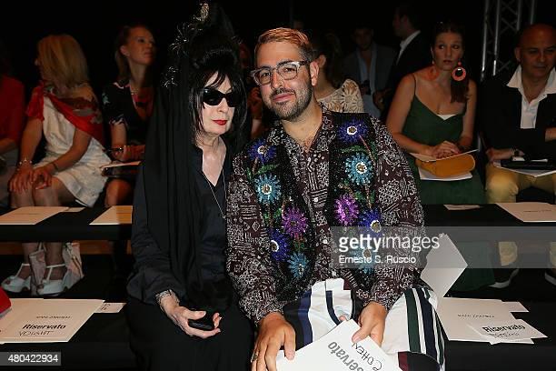 Diane Pernet and Ari Seth Cohen attend the Rani Zakhem fashion show as part of AltaRoma AltaModa Fashion Week Fall/Winter 2015/16 at Palazzo Delle...