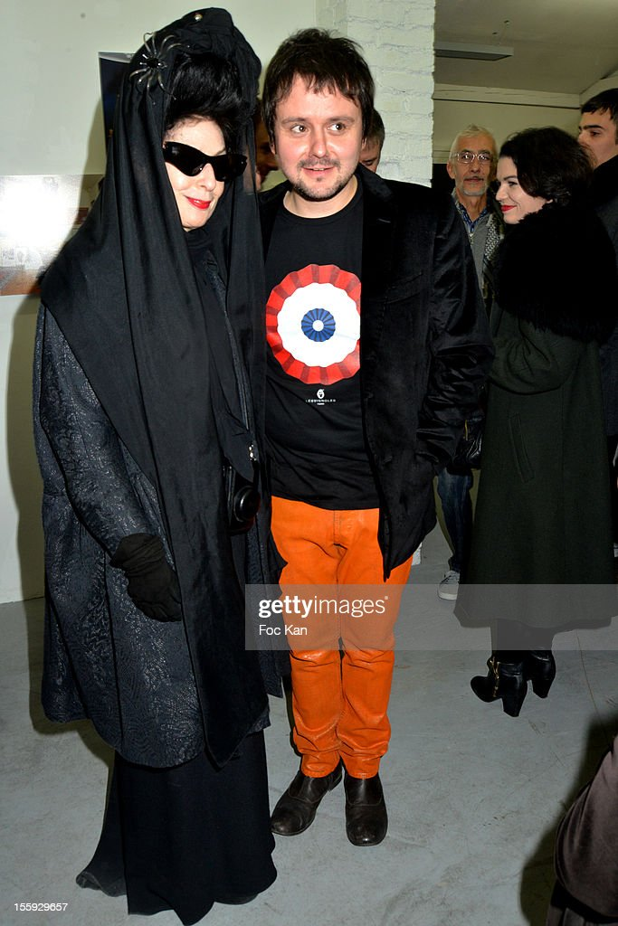 Diane Pernet and Baudoin attend 'Les Parisiennes' - Photo Exhibition Preview at Galerie Clementine De La Feronniere on November 8, 2012 in Paris, France.