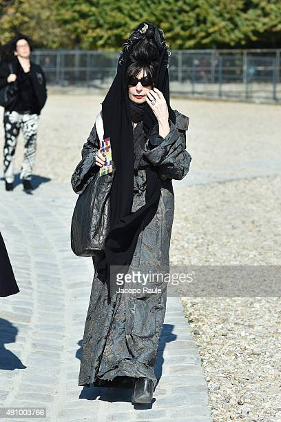 Diane Pernet is seen arriving at Issey Miyake Fashion Show during the Paris Fashion Week Ready To Wear S/S 2016 Day Four on October 2 2015 in Paris...