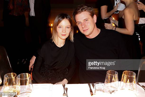 Diane Rouxel and Designer Jonathan Anderson attend the mytheresacom JW Anderson dinner at Berliner Lapidarium on November 24 2016 in Berlin Germany