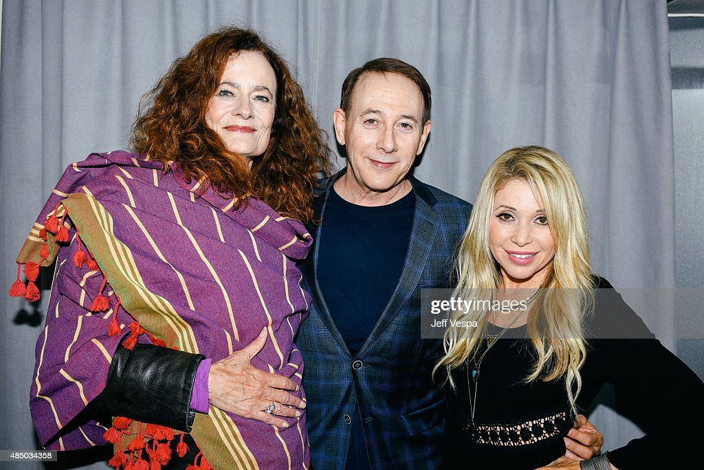 Diane Salinger, Paul Reubens, and E.G. Daily attend Pee-wee's Big Adventure 30th anniversary screening at Hollywood Forever on August 22, 2015 in Hollywood, California.