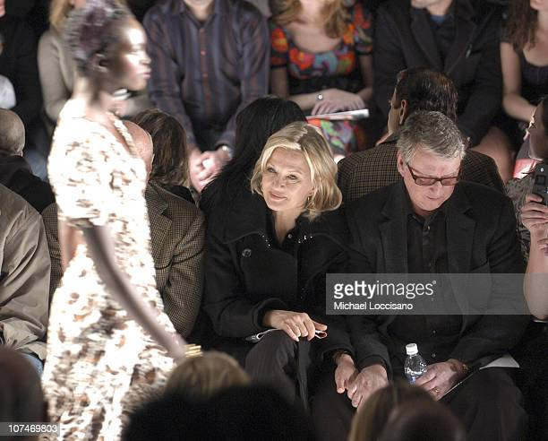Diane Sawyer and Mike Nichols during Olympus Fashion Week Fall 2006 Diane von Furstenberg Front Row and Backstage at Bryant Park in New York City New...