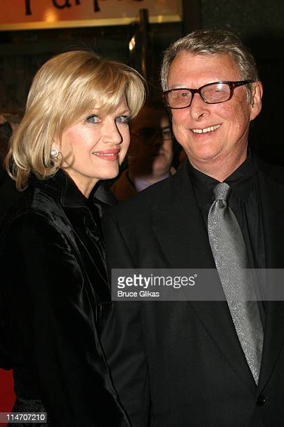 Diane Sawyer and Mike Nichols during 'The Color Purple' Broadway Opening Night Arrivals at The Broadway Theatre in New York City New York United...