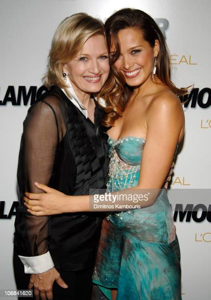 Diane Sawyer and Petra Nemcova during Glamour Magazine Salutes The 2005 Women of the Year Backstage at Avery Fisher Hall in New York City New York...