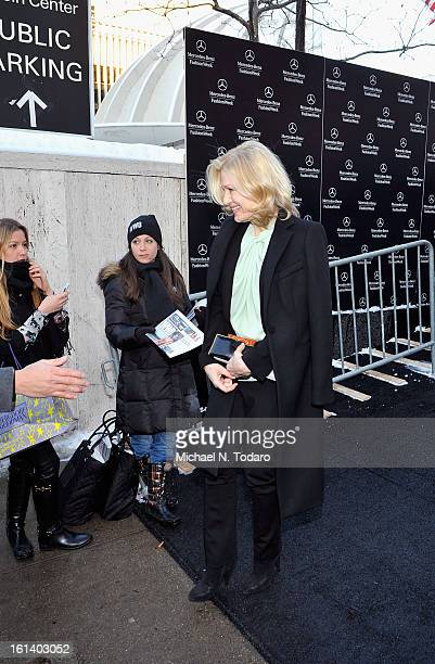 Diane Sawyer arrives backstage at the Vivienne Tam Fall 2013 fashion show during MercedesBenz Fashion Week at The Stage at Lincoln Center on February...