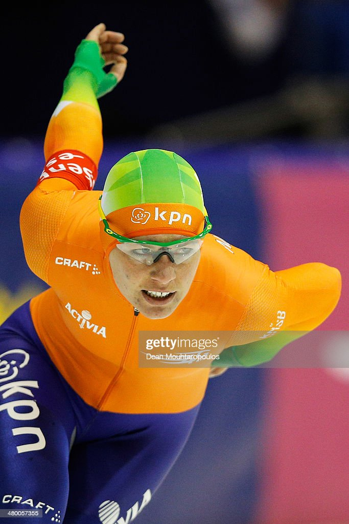 <a gi-track='captionPersonalityLinkClicked' href=/galleries/search?phrase=Diane+Valkenburg&family=editorial&specificpeople=4877218 ng-click='$event.stopPropagation()'>Diane Valkenburg</a> of Netherlands competes in the 3000m Ladies Race during day one of the Essent ISU World Allround Speed Skating Championships at the Thialf Stadium on March 22, 2014 in Heerenveen, Netherlands.