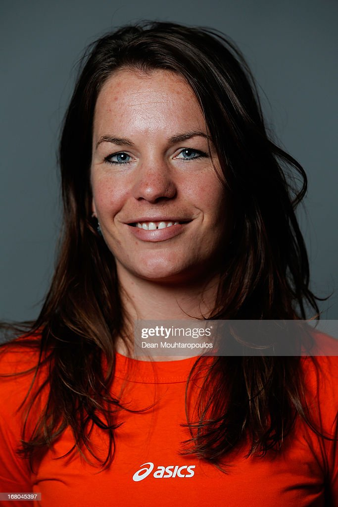Diane Valkenburg, poses during the NOC*NSF (Nederlands Olympisch Comite * Nederlandse Sport Federatie) Sochi athletes and officials photo shoot for Asics at the Spoorwegmuseum on May 4, 2013 in Utrecht, Netherlands.