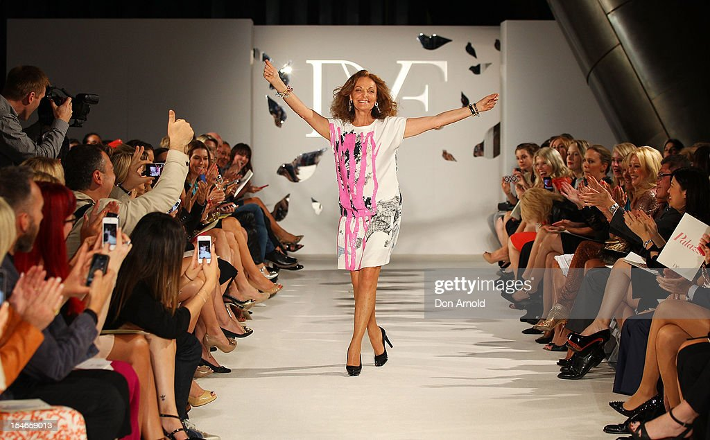 Diane Von Furstenberg acknowledges the applause from the crowd following her 2013 Palazzo DVF Collection show at Sydney Westfield Shopping Centre on October 24, 2012 in Sydney, Australia.