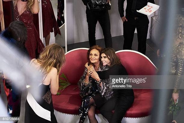 Diane Von Furstenberg and Carine Roitfeld pose wearing Diane Von Furstenberg Fall 2016 during New York Fashion Week on February 14 2016 in New York...