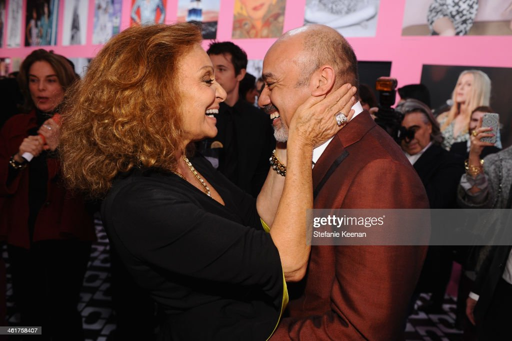 Diane Von Furstenberg (L) and <a gi-track='captionPersonalityLinkClicked' href=/galleries/search?phrase=Christian+Louboutin+-+Fashion+Designer&family=editorial&specificpeople=4644509 ng-click='$event.stopPropagation()'>Christian Louboutin</a> attend Diane Von Furstenberg's Journey of A Dress Exhibition Opening Celebration at May Company Building at LACMA West on January 10, 2014 in Los Angeles, California.