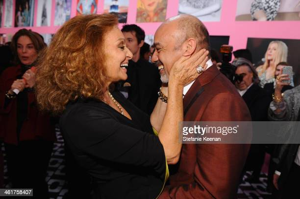 Diane Von Furstenberg and Christian Louboutin attend Diane Von Furstenberg's Journey of A Dress Exhibition Opening Celebration at May Company...