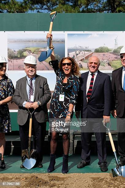 Diane von Furstenberg and husband Barry Diller attend the Statue of Liberty Museum unveiling and groundbreaking ceremony at Liberty Island on October...