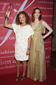 Diane von Furstenberg and Karen Elson pose with an award at the 31st Annual FGI Night of Stars event at Cipriani Wall Street on October 23 2014 in...