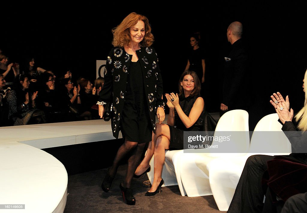Diane Von Furstenberg (L) and <a gi-track='captionPersonalityLinkClicked' href=/galleries/search?phrase=Natalie+Massenet&family=editorial&specificpeople=2118990 ng-click='$event.stopPropagation()'>Natalie Massenet</a> attend the 2013 International Woolmark Prize Final at ME London on February 16, 2013 in London, England.