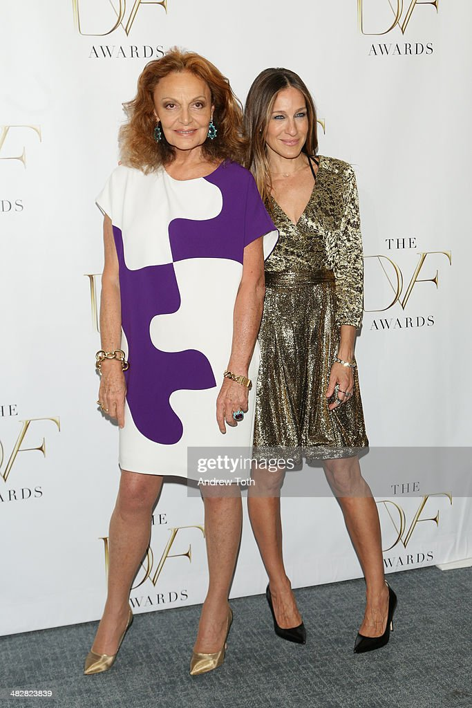 Diane von Furstenberg (L) and <a gi-track='captionPersonalityLinkClicked' href=/galleries/search?phrase=Sarah+Jessica+Parker&family=editorial&specificpeople=201693 ng-click='$event.stopPropagation()'>Sarah Jessica Parker</a> attend the 2014 DVF Awards on April 4, 2014 in New York City.