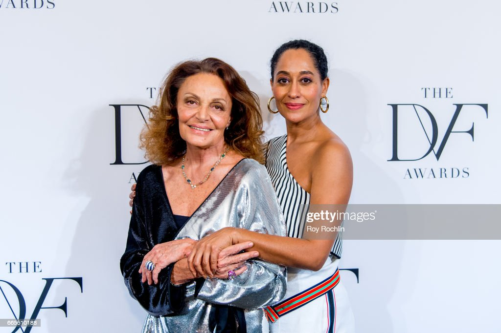 Diane von Furstenberg and Tracee Ellis Ross attend the 2017 DVF Awards at United Nations on April 6, 2017 in New York City.