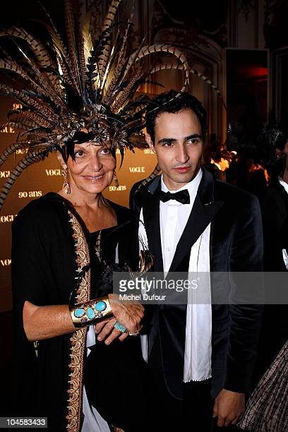 Diane von Furstenberg and Zac Posen attend Vogue 90th Anniversary Party as part of Ready to Wear Spring/Summer 2011 Paris Fashion Week at Hotel Pozzo...