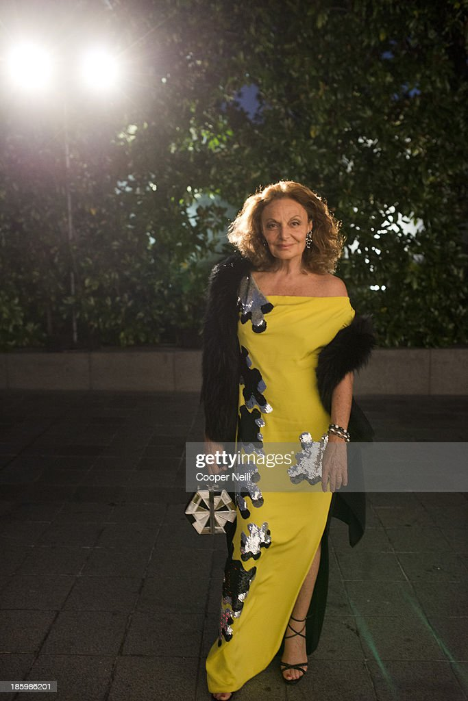 Diane von Furstenberg arrives for the 2013 TWO x TWO for AIDS and Art Gala at the Rachofsky House on October 26, 2013 in Dallas, Texas.
