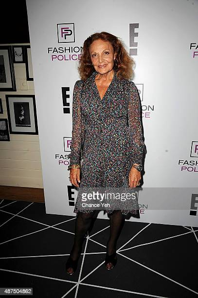 Diane von Furstenberg attends E's 2016 Spring NYFW Kick Off party at The Standard High Line Biergarten Garden on September 9 2015 in New York City