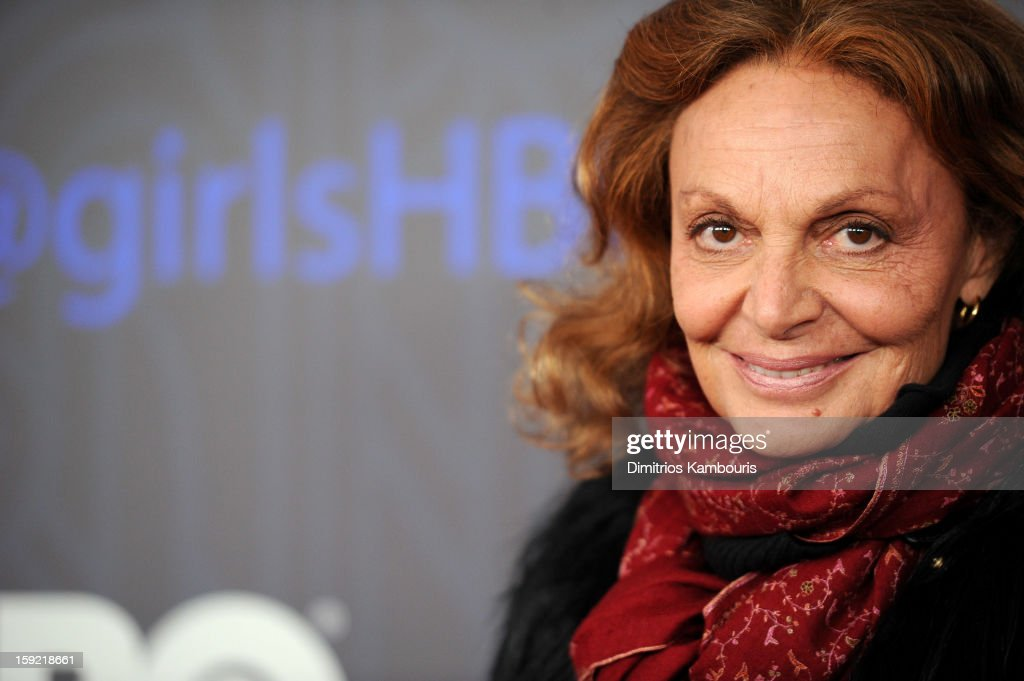 Diane Von Furstenberg attends the HBO premiere of 'Girls' Season 2 at the NYU Skirball Center on January 9, 2013 in New York City.