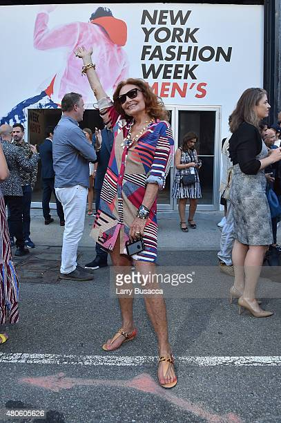 Diane Von Furstenberg attends the New York Fashion Week Men's S/S 2016 Opening Press Conference at Skylight Clarkson Sq on July 13 2015 in New York...