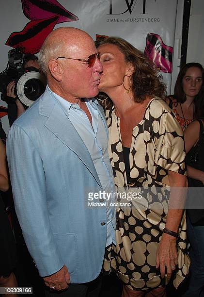 Diane Von Furstenberg backstage with husband and media/business mogul Barry Diller following her Spring 2008 show during MercedesBenz Fashion Week at...