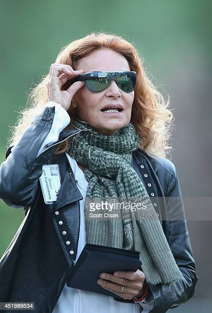 Diane von Furstenberg chairman and founder of Diane von Furstenberg Studio LP wears a pair of limited edition DVF Made for Glass Google Glass...