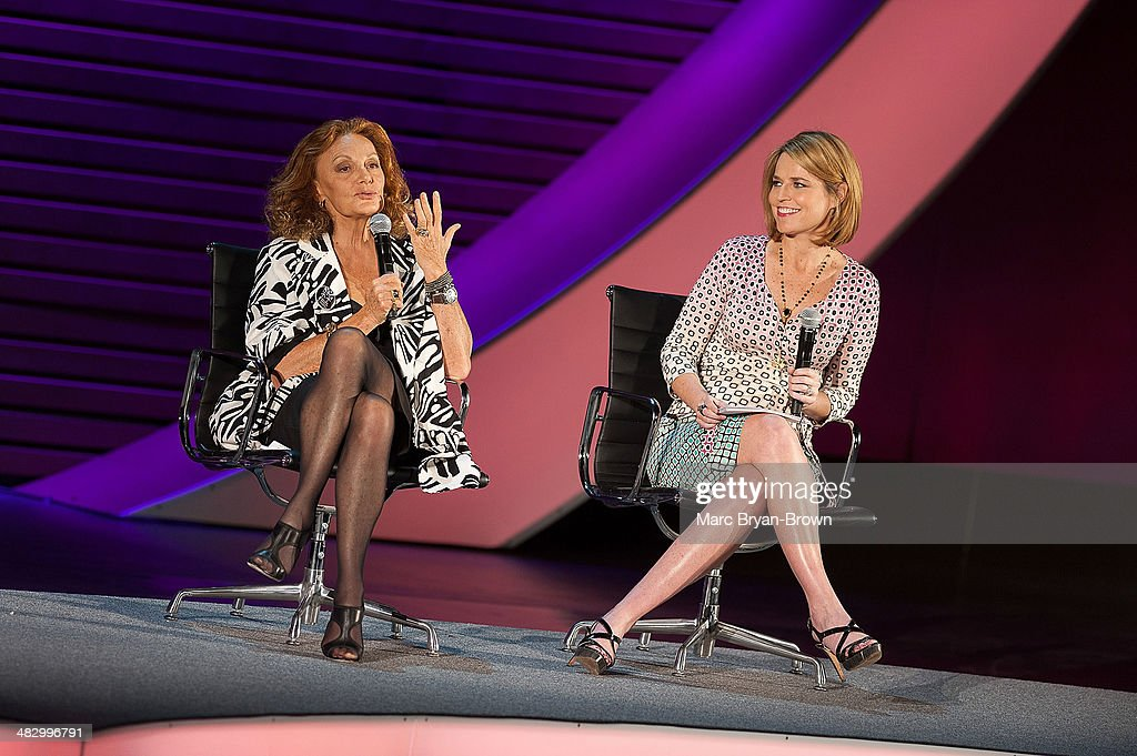 Diane von Furstenberg, Founder and Co-Chairman, DVF Studio LLC and <a gi-track='captionPersonalityLinkClicked' href=/galleries/search?phrase=Savannah+Guthrie&family=editorial&specificpeople=653313 ng-click='$event.stopPropagation()'>Savannah Guthrie</a>, Co-Anchor, Today attend the 5th Annual Women In The World Summit at David H. Koch Theater, Lincoln Center on April 5, 2014 in New York City.