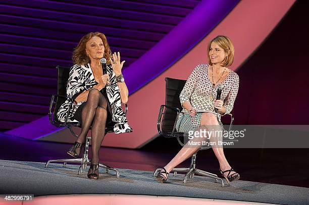 Diane von Furstenberg Founder and CoChairman DVF Studio LLC and Savannah Guthrie CoAnchor Today attend the 5th Annual Women In The World Summit at...