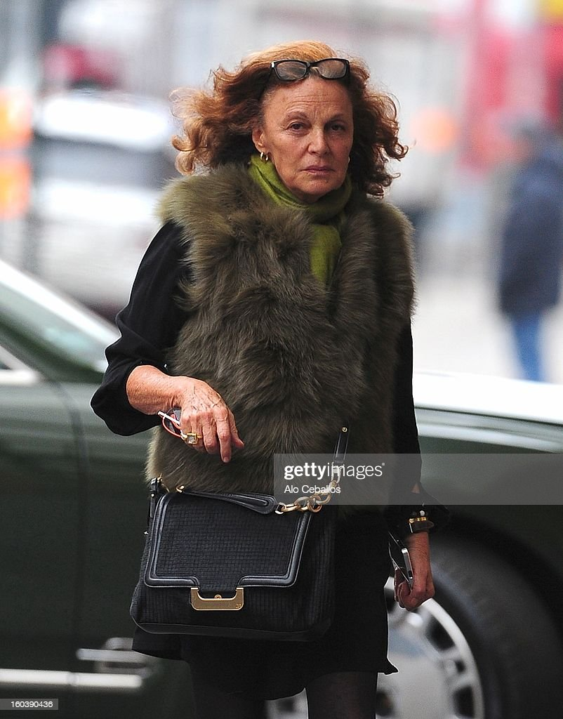 Diane Von Furstenberg is seen in the Meat Packing D on January 30, 2013 in New York City.