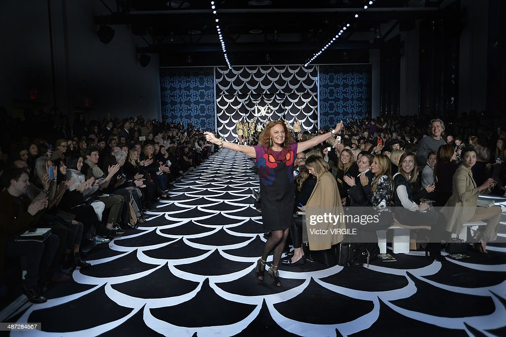 Diane Von Furstenberg on the runway at the Diane Von Furstenberg Ready to Wear Fall/Winter 2014-2015 fashion show during Mercedes-Benz Fashion Week Fall 2014 at Spring Studios on February 9, 2014 in New York City.