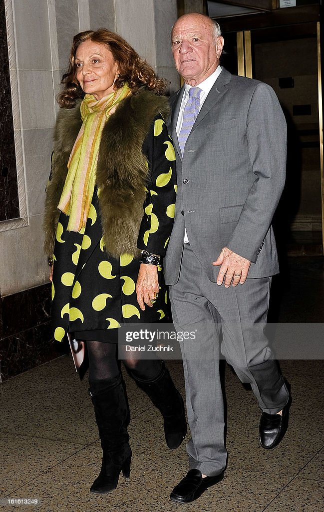 Diane Von Furstenberg(L) seen arriving to the Oscar de la Renta show on February 12, 2013 in New York City.