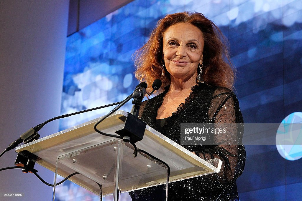 Diane von Furstenberg speaks at the Vital Voices Solidarity Awards at IAC Building on December 7 2015 in New York City