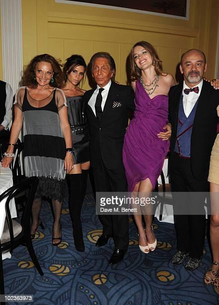 Diane Von Furstenberg Victoria Beckham Valentino Garavani Natalia Vodianova and Christian Louboutin attend the Diane Von Furstenberg and Claridge's...
