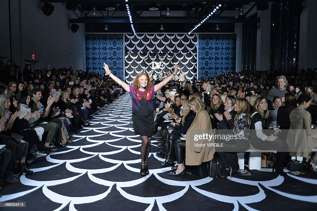 Diane Von Furstenberg walks the runway at the Diane Von Furstenberg Ready to Wear Fall/Winter 2014-2015 fashion show during Mercedes-Benz Fashion Week Fall 2014 at Spring Studios on February 9, 2014 in New York City.