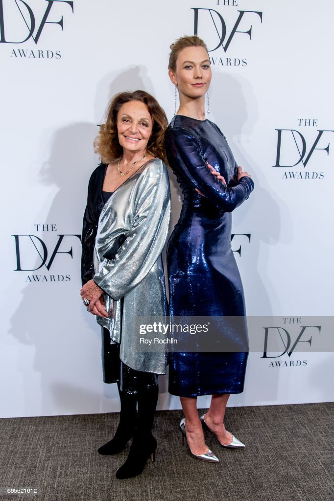 Diane von Furstenberg with Karlie Kloss attends the 2017 DVF Awards at United Nations on April 6, 2017 in New York City.