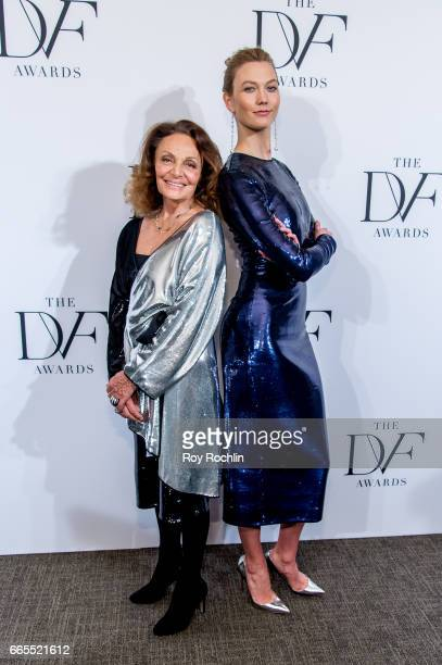 Diane von Furstenberg with Karlie Kloss attends the 2017 DVF Awards at United Nations on April 6 2017 in New York City