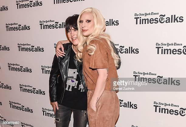 Diane Warren and Lady Gaga attend the TimesTalks Presents 'Hunting Ground' With Lady Gaga Diane Warren Kirby Dick And Amy Ziering at Times Center on...