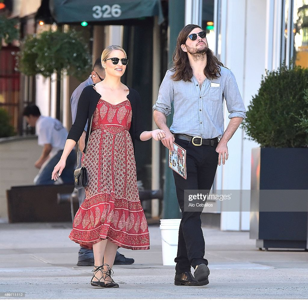Dianna Agron and Winston Marshall are seen in Soho on September 23 2015 in New York City