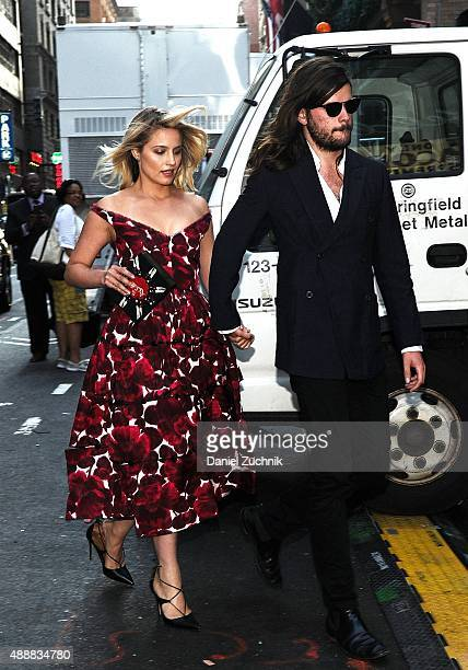 Dianna Agron and Winston Marshall are seen outside the Marc Jacobs show during New York Fashion Week 2016 on September 17 2015 in New York City
