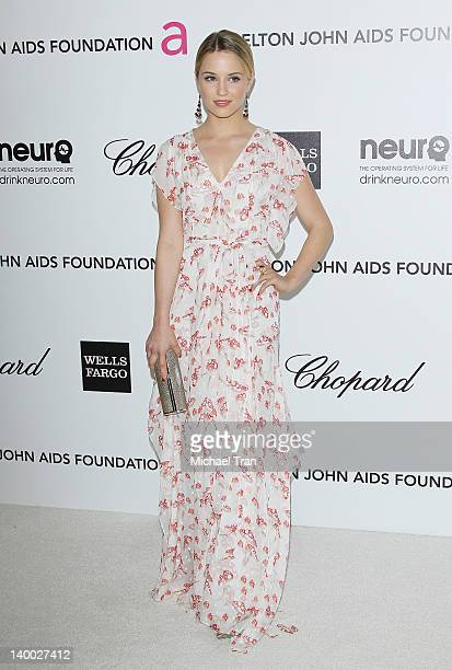 Dianna Agron arrives at the 20th Annual Elton John AIDS Foundation Academy Awards viewing party held across the street from the Pacific Design Center...