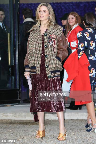 Dianna Agron arrives at the Miu Miu show as part of the Paris Fashion Week Womenswear Fall/Winter 2017/2018 on March 7 2017 in Paris France