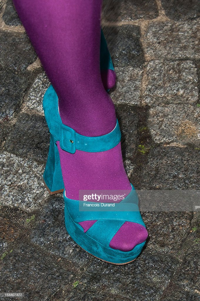 Dianna Agron (shoe detail) arrives at the Miu Miu Spring/Summer 2013 show as part of Paris Fashion Week on October 3, 2012 in Paris, France.