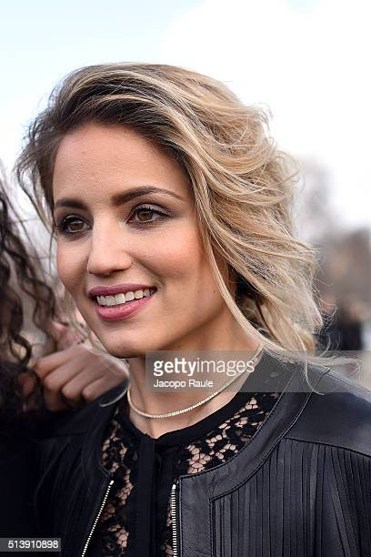 Dianna Agron is seen arriving at Elie Saab Fashion Show during Paris Fashion Week Womenswear Fall Winter 2016/2017 on March 5 2016 in Paris France
