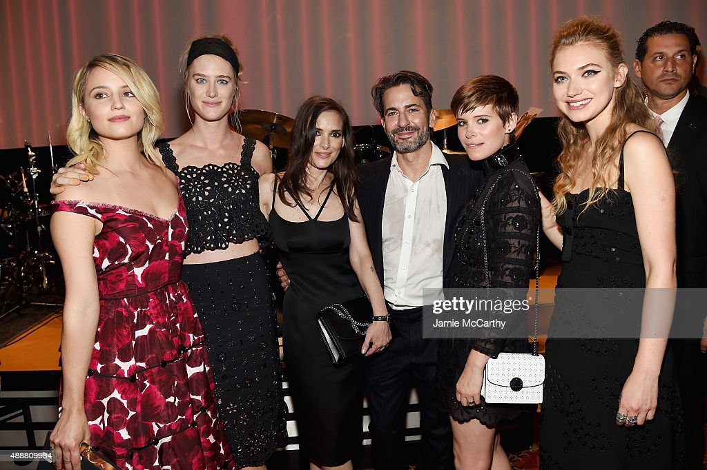 Dianna Agron Mackenzie Davis Winona Ryder Marc Jacobs Kate Mara and Imogen Poots attend the Marc Jacobs Spring 2016 fashion show during New York...