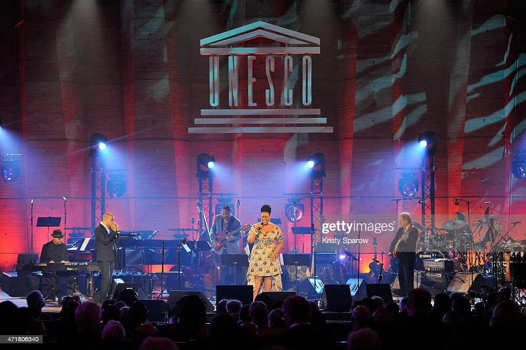Dianne Reeves (C) performs on stage during the International Jazz Day 2015 Global Concert at UNESCO on April 30, 2015 in Paris, France.