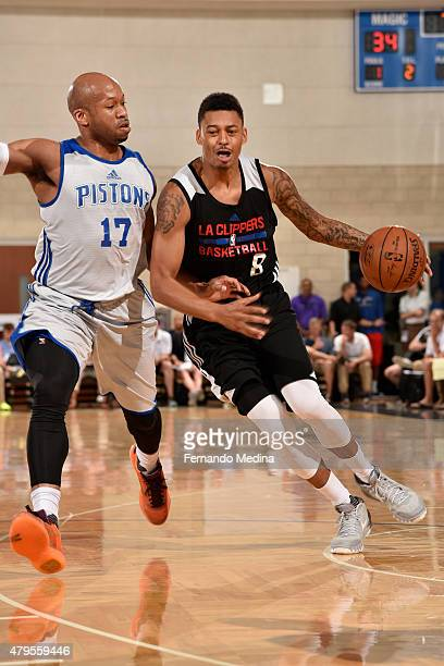 Diante Garrett of the Los Angeles Clippers drives to the basket against Sundiata Gaines of the Detroit Pistons during the game on July 5 2015 at...