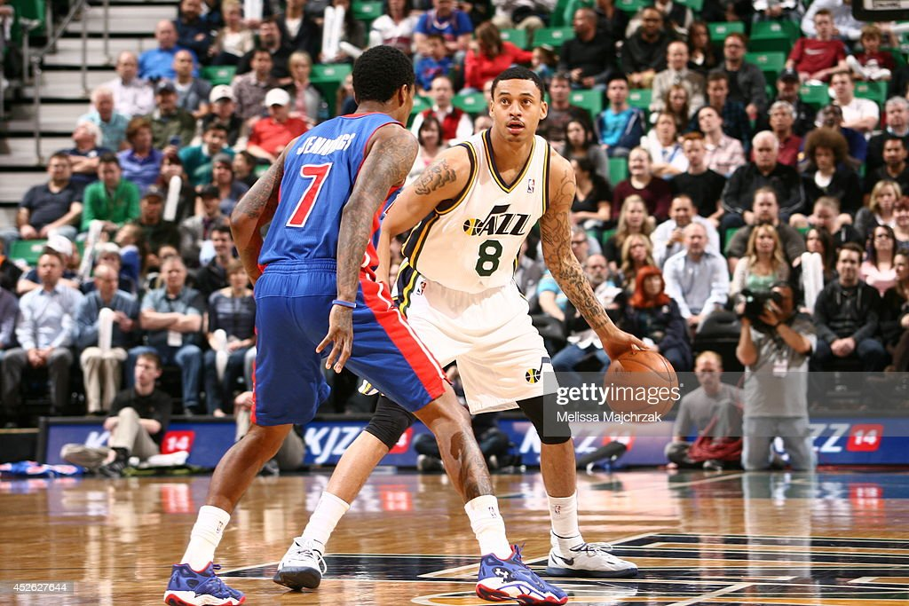 <a gi-track='captionPersonalityLinkClicked' href=/galleries/search?phrase=Diante+Garrett&family=editorial&specificpeople=4846709 ng-click='$event.stopPropagation()'>Diante Garrett</a> #8 of the Utah Jazz handles the ball against the Detroit Pistons at EnergySolutions Arena on March 24, 2014 in Salt Lake City, Utah.